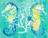 Seahorses on Coral Prints by Julie DeRice