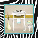 Zebra Bath I Plakat af Elizabeth Medley