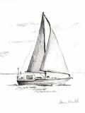 Coastal Boat Sketch I Print by Lanie Loreth