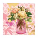 Pink Mason Jar Bouquet Premium Giclee Print