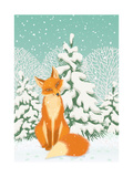 Sitting Red Fox in the Winter Forest Posters by  Milovelen