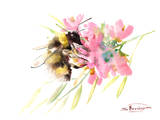 Bee And Soft Pink Flowers Prints by Suren Nersisyan