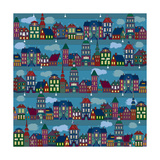 Seamless Pattern with Multi-Colored Houses in the Night City Prints by  Milovelen