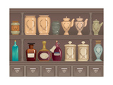 Vintage Bottles and Jars in the Pharmacy Cabinet Poster by  Milovelen