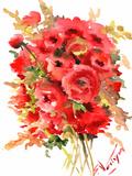 Red Ranunculus Art by Suren Nersisyan