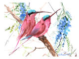 Pink Bee Eaters Art by Suren Nersisyan