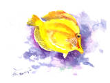 Yellow Angelfish Prints by Suren Nersisyan