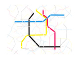 Subway Map with Grey Streets and Colored Tubes Poster by  oriontrail2