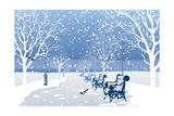 Snow falling in City Park Art by  Milovelen