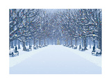 Avenue of Trees, Street Lamps and Benches in a Snow Covered Park Posters by  Milovelen