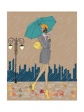 Girl in the Rain Print by  Milovelen