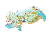 Cartoon Vector Map of Russia with a Symbol of Moscow - St. Basil's Cathedral, a Symbol of St. Peter Posters by  Milovelen