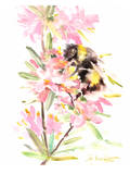 Bee And Flowers Print by Suren Nersisyan