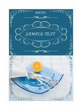 Menu Illustrating Silver Knife, Fork and Spoon on Blue Glass Plates, and Half an Orange - Vector Posters by  Milovelen