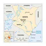 Map of Kenya Prints