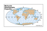 Mollweide Homolographic Projection Print