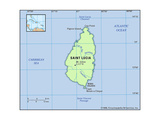 Map of Saint Lucia Prints