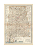 Map of Alabama Print