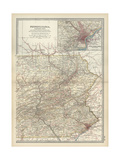 Map of Pennsylvania with Inset Map of Philadelphia Posters