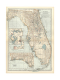 Map of Florida with Insets of Cities Prints