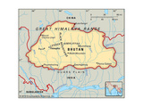 Map of Bhutan Prints