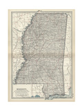 Map of Mississippi Prints