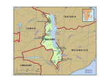 Map of Malawi Plakat