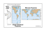 Cylindrical Projection on the Earth Prints