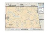Physical Map of North Dakota Poster