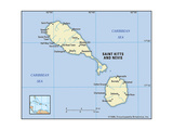 Map of Saint Kitts and Nevis Prints