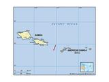 Map of Samoa and American Samoa Print