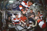 Astronauts and Cosmonauts About to Share a Meal Reproduction photographique