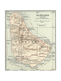 Map of Barbados Prints