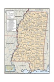 Political Map of Mississippi Prints