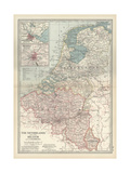 Map of Netherlands and Belgium Prints