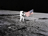 U.S. Flag on the Moon Photographic Print