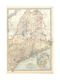 Karte von Maine Kunstdruck