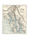 Map of Sitka and Glacier Bay, Alaska Prints
