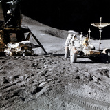 James B. Irwin Works at the Lunar Roving Vehicle Photographic Print