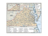 Political Map of Virginia Art