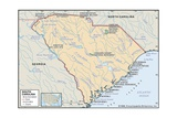 Physical Map of South Carolina Print