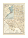 Map of Western Texas with Galveston Posters