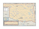 Physical Map of Oklahoma Prints