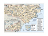 Political Map of North Carolina Prints