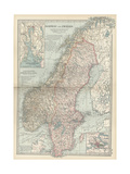 Map of Norway and Sweden Print