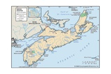 Physical Map of Nova Scotia Prints