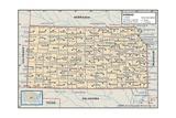 Political Map of Kansas Prints