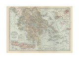 Map of Greece with Crete and Samos Posters