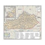 Political Map of Kentucky Prints