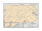 Physical Map of Pennsylvania Prints